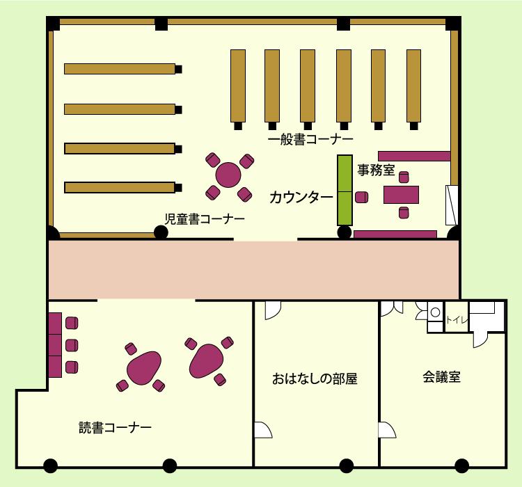 佐田図書館館内案内図